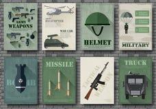 Карточки воинских карточек оборудования Шаблон flyear, кассеты армии, плакаты, концепция книги Детали сил специального назначения Стоковая Фотография RF