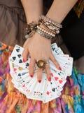 Карточки владениями цыганина играя лицевые Стоковые Фотографии RF