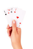 Карточки в руке Стоковая Фотография