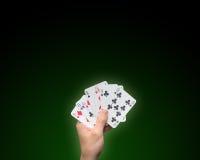карточки держа покер Стоковые Фото