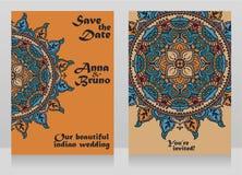 2 карточки для индийской свадьбы стиля с традиционной королевской мандалой