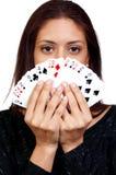 Карточки испанской женщины играя стоковые изображения rf