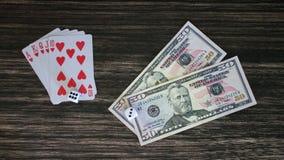 Карточки и деньги Стоковые Изображения