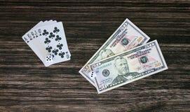 Карточки и деньги Стоковое Изображение