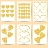 Карточки или открытки подарка Сердца золота на белой предпосылке Стоковые Фотографии RF