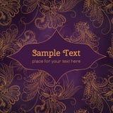 Карточки или приглашения с картиной мандалы цветков Стоковое Изображение RF