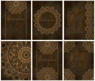 Карточки или приглашения с картиной мандалы Стоковые Изображения