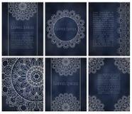Карточки или приглашения с картиной мандалы Стоковые Изображения RF