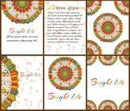 Карточки или приглашения с картиной мандалы Стоковое Изображение RF