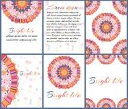 Карточки или приглашения с картиной мандалы Иллюстрация вектора