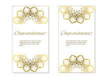 Карточки или приглашения установили с племенным этническим орнаментом мандалы Стоковые Фото