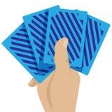 Карточки казино в графическом дизайне иллюстрации значка концепции игры руки Стоковое Фото