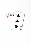 Карточки комплекта символа ранжировок руки покера играя в казино: 4 из вида на белой предпосылке, конспект везения Стоковое Изображение RF