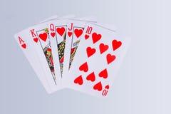 Карточки королевского притока покера играя Стоковые Изображения
