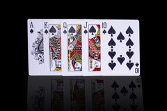 Карточки королевского притока покера играя Стоковое Изображение