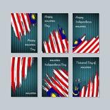 Карточки Малайзии патриотические на национальный праздник иллюстрация вектора