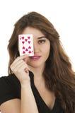 Карточки молодой женщины Beuatiful играя Стоковое Изображение