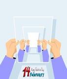 карточки дня иллюстрация здесь положила вектор Валентайн текста s ваш 14-ое февраля Стоковые Фотографии RF
