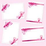 Карточки осведомленности рака молочной железы иллюстрация вектора