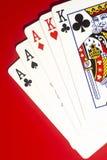 Карточки покера аншлага играя Стоковые Фото