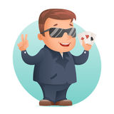 Карточки покера казино играя в азартные игры игрок талисмана профессиональный или удачливая иллюстрация вектора дизайна шаржа нов Стоковые Изображения RF