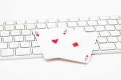 Карточки покера на клавиатуре сети Стоковое Изображение RF