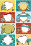 карточки приветствуя комплект Смешной сыч цветет винтажные ярлыки ленты Стоковое фото RF