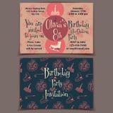 Карточки приглашения вечеринки по случаю дня рождения катания на коньках Стоковая Фотография
