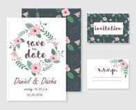 Карточки приглашения свадьбы Стоковые Фотографии RF