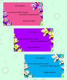 Карточки приглашения с флористическими элементами Стоковое Изображение RF
