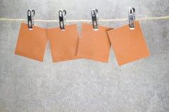 Карточки примечаний бумажные в колышках одежд Стоковая Фотография RF