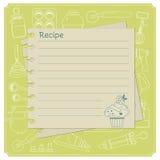 Карточки рецепта пустого торта тематические для ваших сладостных творений Стоковое Изображение