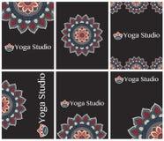 Карточки, рогульки или приглашения для занятий йогой Иллюстрация вектора