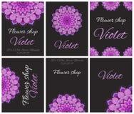 Карточки, рогульки или приглашения для цветочного магазина Иллюстрация штока
