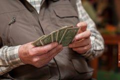 Карточки стариков играя Стоковая Фотография