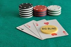 Карточки с обломоками покера и большим слепым обломоком Стоковое фото RF