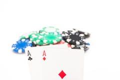 Карточки с обломоками покера Стоковые Фотографии RF