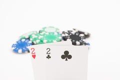 Карточки с обломоками покера Стоковое Фото