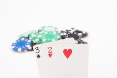 Карточки с обломоками покера Стоковые Изображения RF