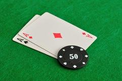 2 карточки с обломоками покера Стоковые Фото