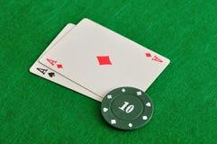 2 карточки с обломоками покера Стоковое Изображение RF