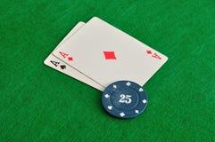 2 карточки с обломоками покера Стоковое Изображение
