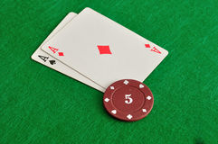 2 карточки с обломоками покера Стоковая Фотография RF
