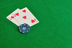 2 карточки с обломоком покера Стоковые Изображения