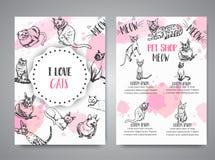 Карточки с породами кота Любовники котов бьют знамена шаблона вектора текста котов влюбленности эскиза i котенка иллюстрации вект Стоковое Изображение RF