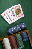 Карточки с рукой покера с обломоками Стоковые Изображения RF