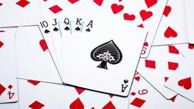 карточки топят играть покер королевский Стоковые Фотографии RF