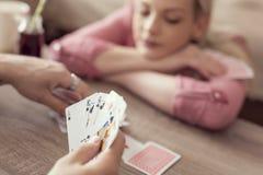 карточки топят играть покер королевский Стоковое Фото