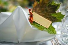 Карточки украшения таблицы свадьбы Стоковое Изображение