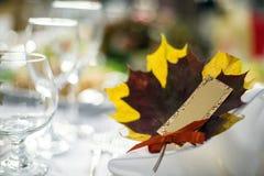 Карточки украшения таблицы свадьбы Стоковая Фотография
